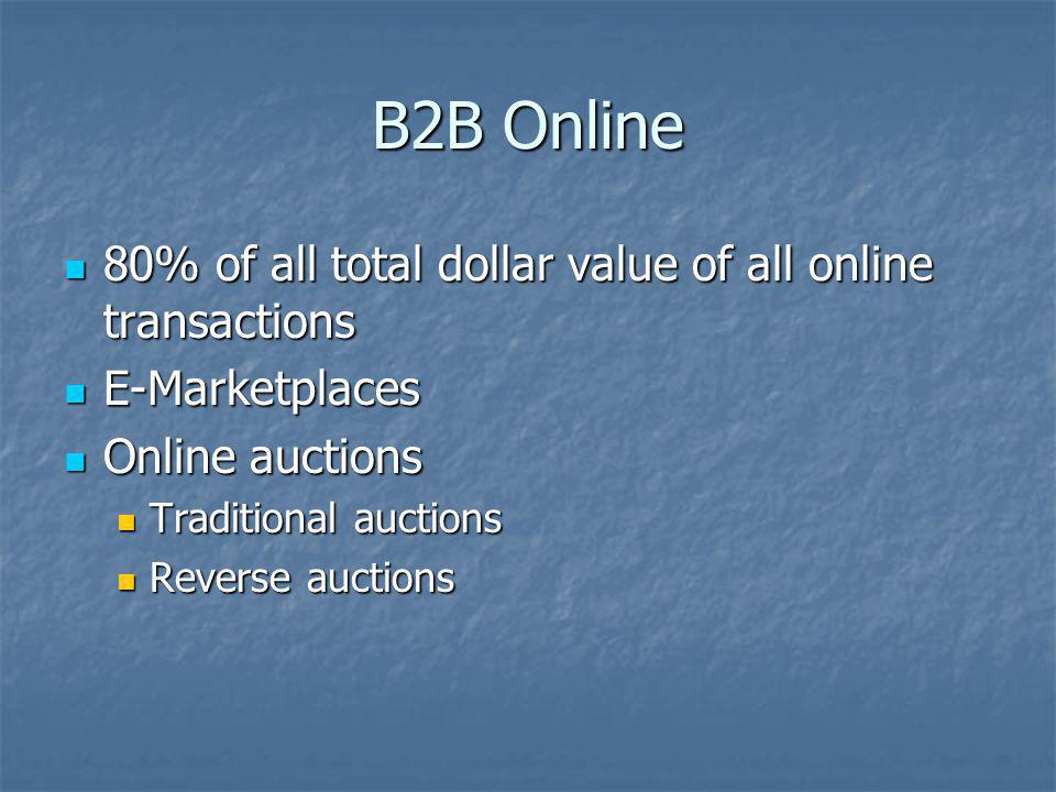 B2B Online 80% of all total dollar value of all online transactions 80% of all total dollar value of all online transactions E-Marketplaces E-Marketpl