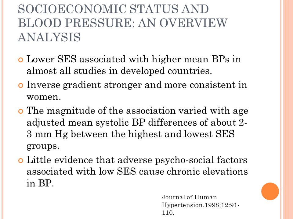 SOCIOECONOMIC STATUS AND BLOOD PRESSURE: AN OVERVIEW ANALYSIS Lower SES associated with higher mean BPs in almost all studies in developed countries.