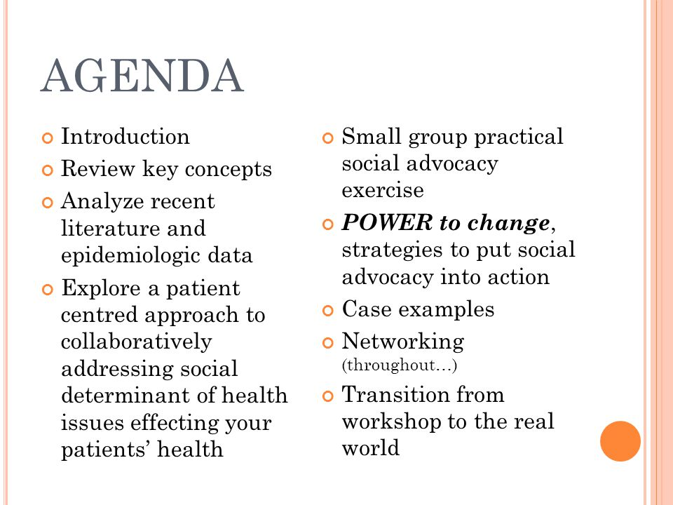 AGENDA Introduction Review key concepts Analyze recent literature and epidemiologic data Explore a patient centred approach to collaboratively address