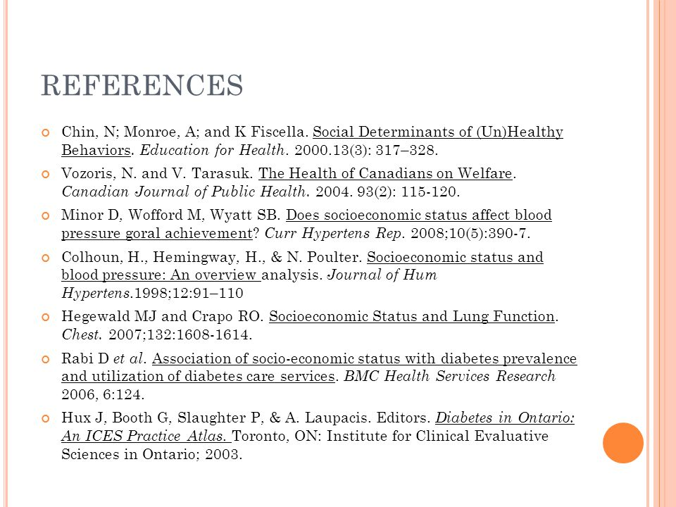 REFERENCES Chin, N; Monroe, A; and K Fiscella. Social Determinants of (Un)Healthy Behaviors. Education for Health. 2000.13(3): 317–328. Vozoris, N. an