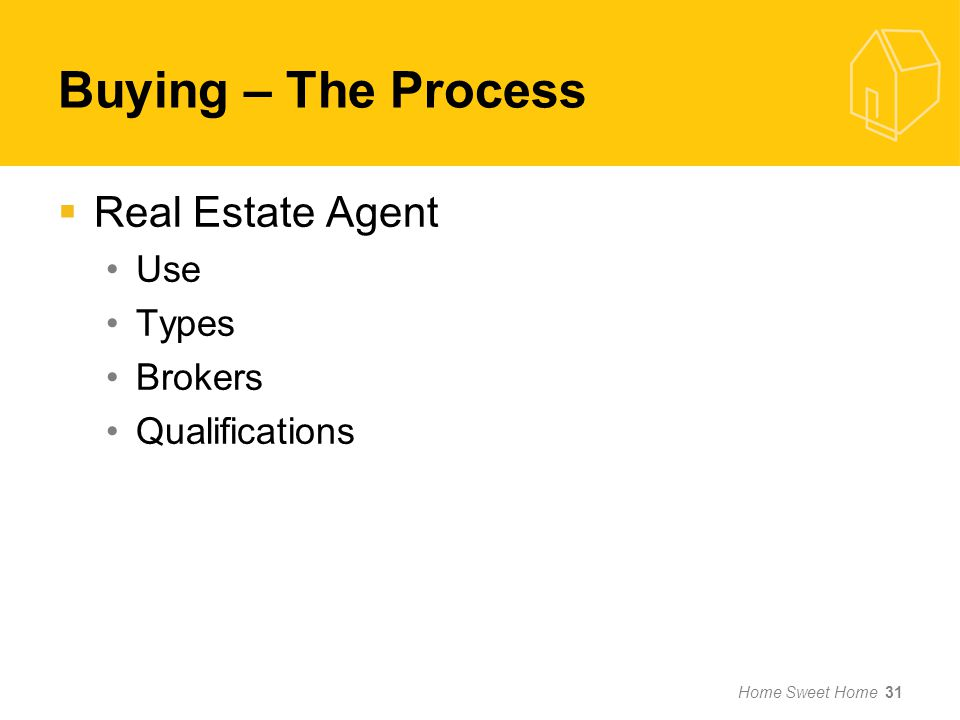 Buying – The Process Real Estate Agent Use Types Brokers Qualifications Home Sweet Home 31