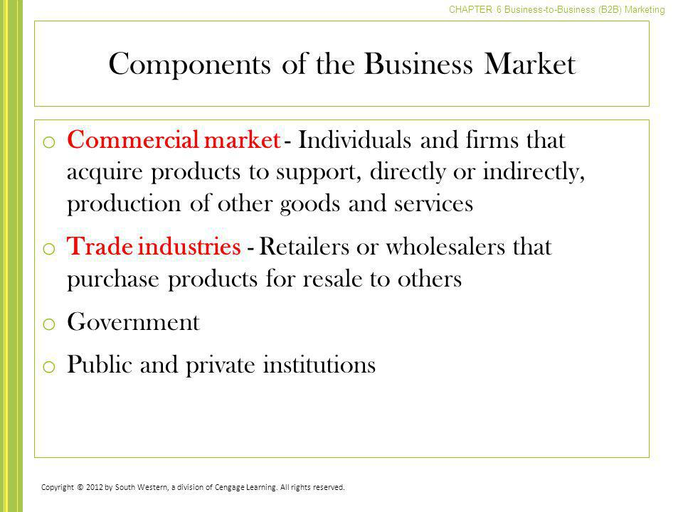 CHAPTER 6 Business-to-Business (B2B) Marketing Components of the Business Market o Commercial market - Individuals and firms that acquire products to