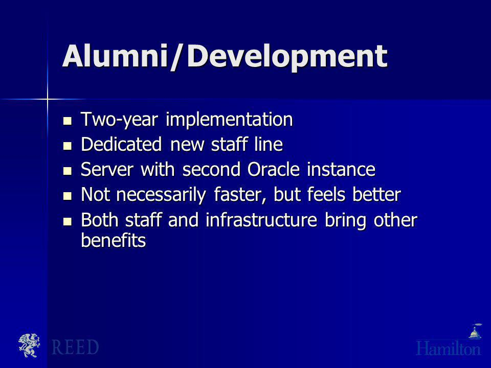 Alumni/Development Two-year implementation Two-year implementation Dedicated new staff line Dedicated new staff line Server with second Oracle instanc