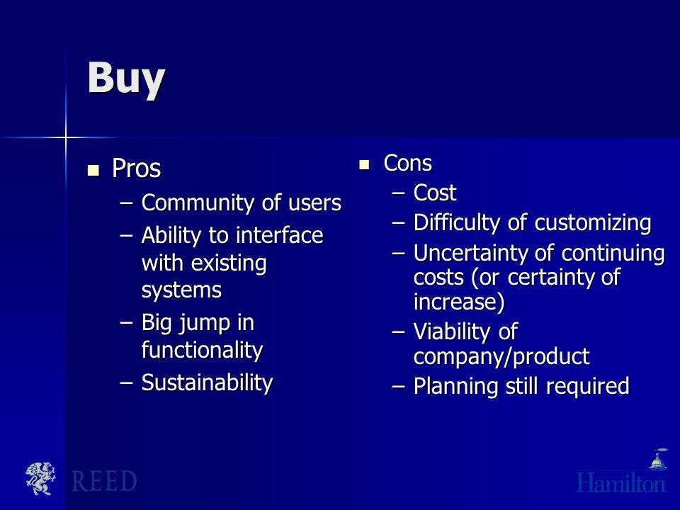 Buy Pros Pros –Community of users –Ability to interface with existing systems –Big jump in functionality –Sustainability Cons Cons –Cost –Difficulty o