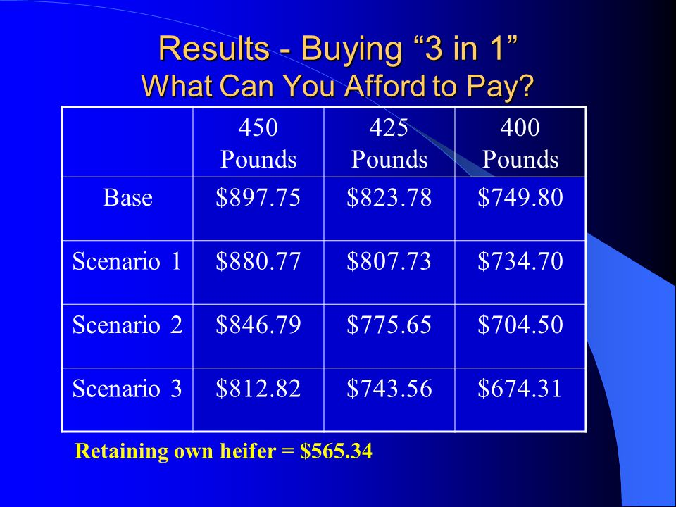 Results - Buying 3 in 1 What Can You Afford to Pay.
