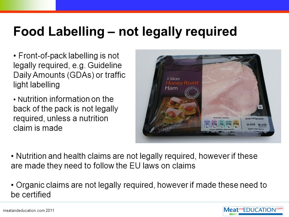 meatandeducation.com 2011 Food Labelling – not legally required Front-of-pack labelling is not legally required, e.g. Guideline Daily Amounts (GDAs) o