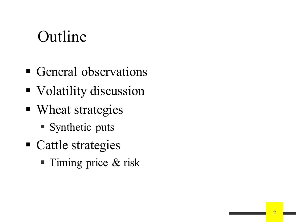 2 Outline General observations Volatility discussion Wheat strategies Synthetic puts Cattle strategies Timing price & risk
