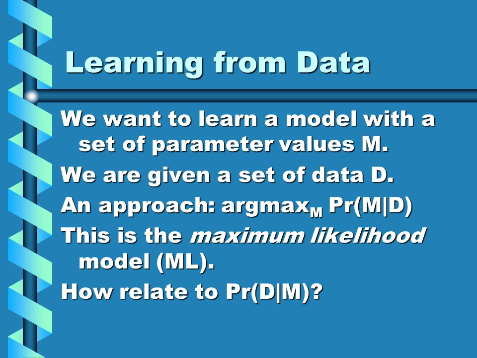 Learning from Data We want to learn a model with a set of parameter values M.