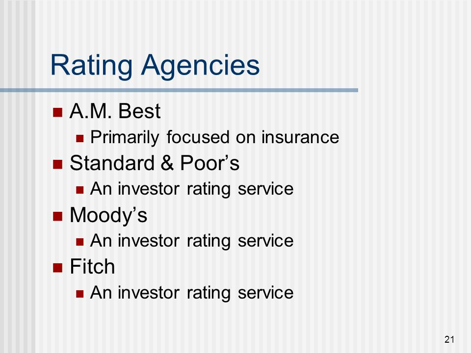 21 Rating Agencies A.M.