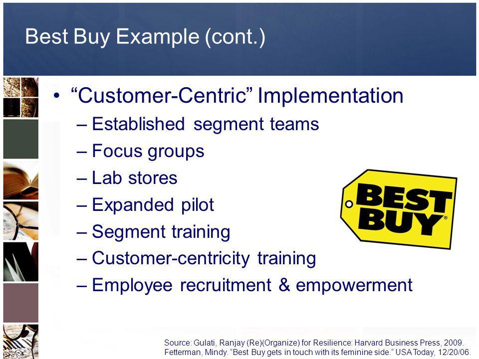 Customer-Centric Implementation –Established segment teams –Focus groups –Lab stores –Expanded pilot –Segment training –Customer-centricity training –