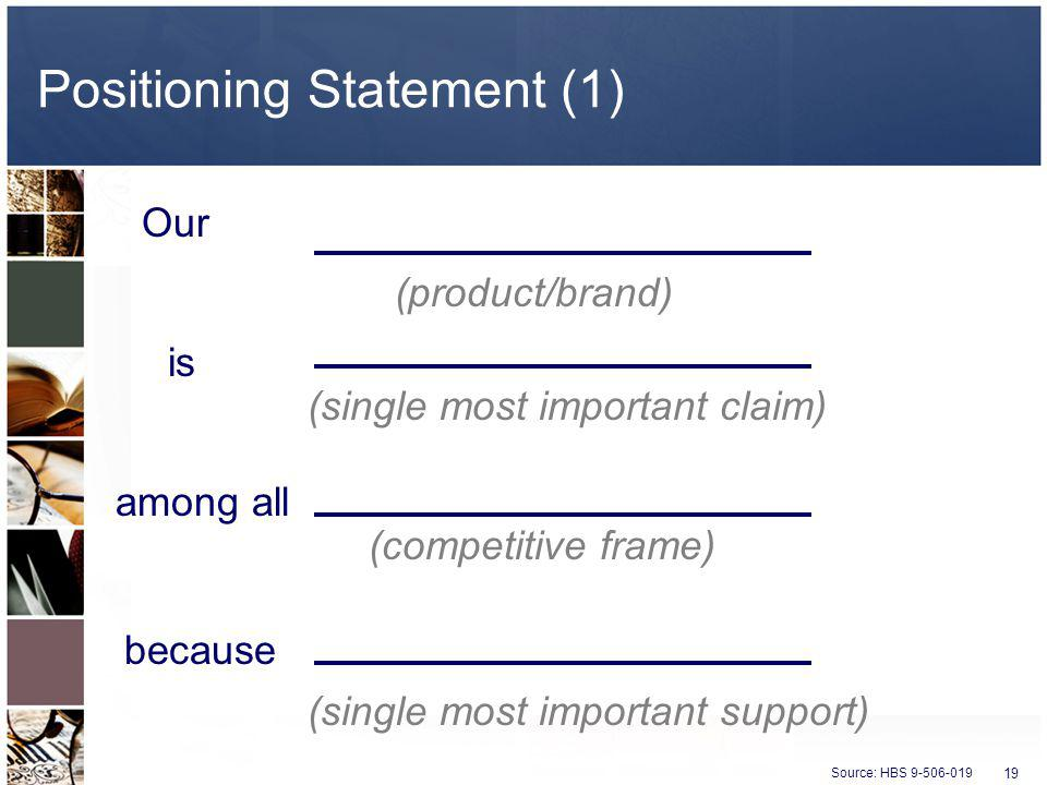 19 Positioning Statement (1) Our (product/brand) is (single most important claim) among all (competitive frame) because (single most important support