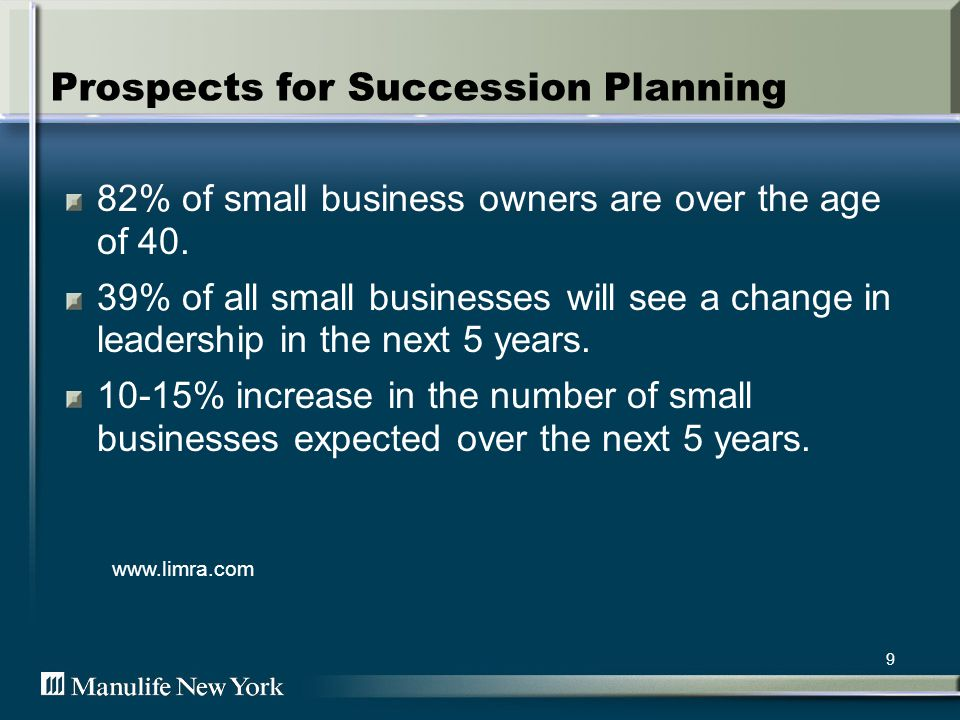 9 Prospects for Succession Planning 82% of small business owners are over the age of 40.
