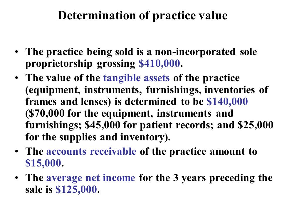 Determination of practice value The practice being sold is a non-incorporated sole proprietorship grossing $410,000.