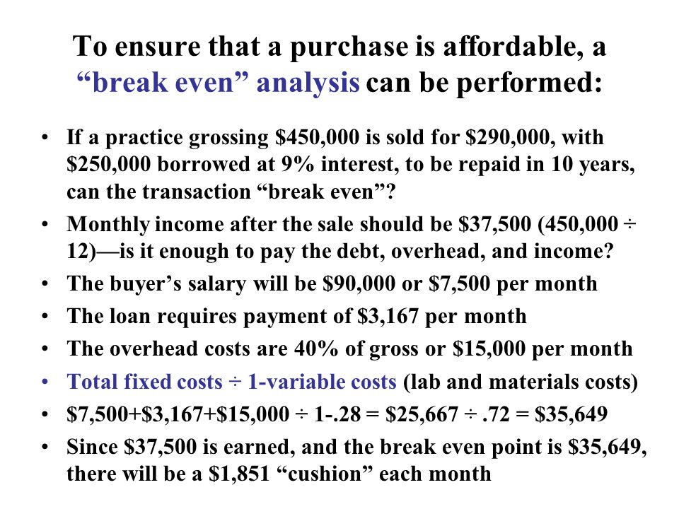 To ensure that a purchase is affordable, a break even analysis can be performed: If a practice grossing $450,000 is sold for $290,000, with $250,000 borrowed at 9% interest, to be repaid in 10 years, can the transaction break even.