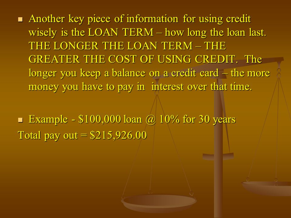 Another key piece of information for using credit wisely is the LOAN TERM – how long the loan last.