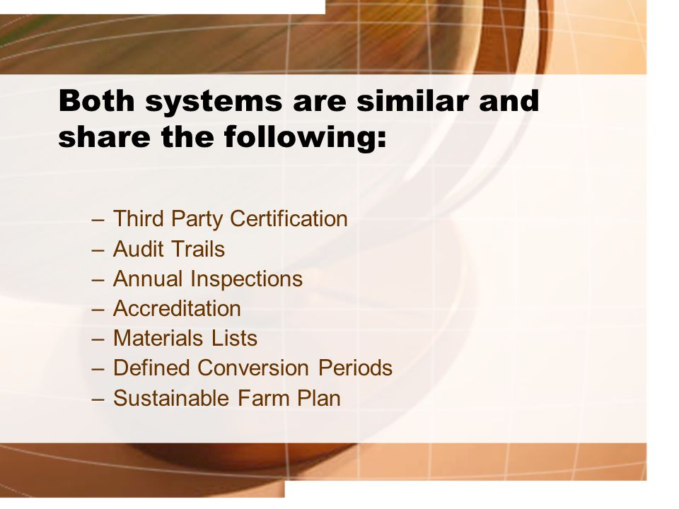 Both systems are similar and share the following: –Third Party Certification –Audit Trails –Annual Inspections –Accreditation –Materials Lists –Define