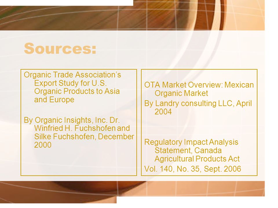 Sources: Organic Trade Associations Export Study for U.S. Organic Products to Asia and Europe By Organic Insights, Inc. Dr. Winfried H. Fuchshofen and