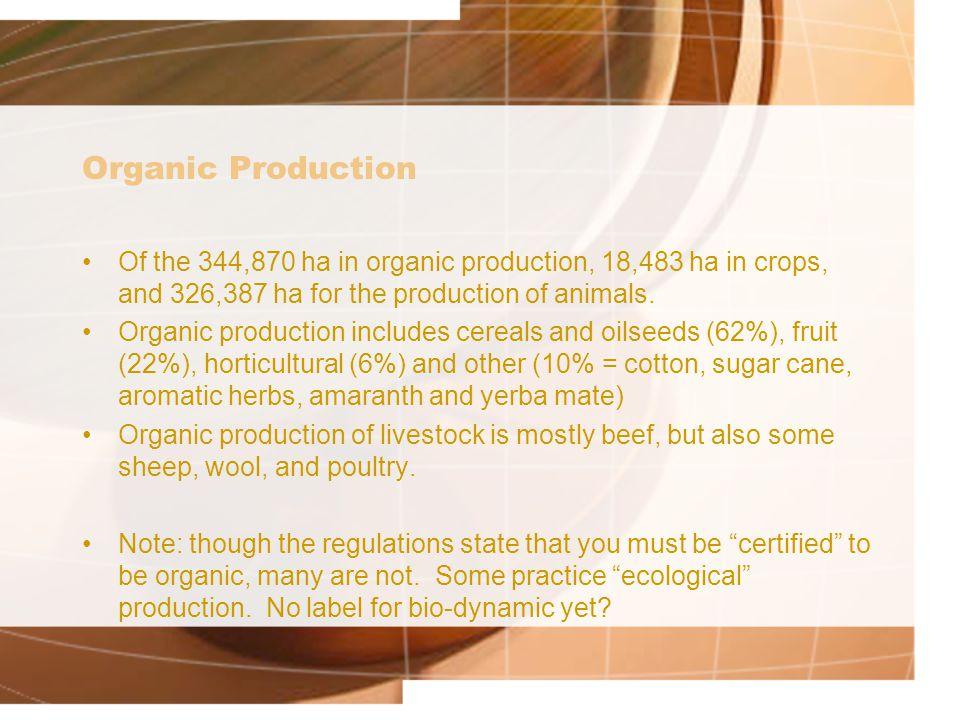 Organic Production Of the 344,870 ha in organic production, 18,483 ha in crops, and 326,387 ha for the production of animals.
