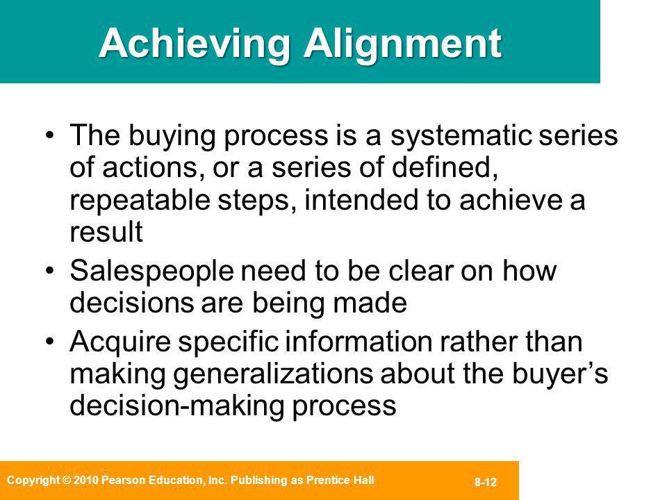 Copyright © 2010 Pearson Education, Inc. Publishing as Prentice Hall 8-12 Achieving Alignment The buying process is a systematic series of actions, or