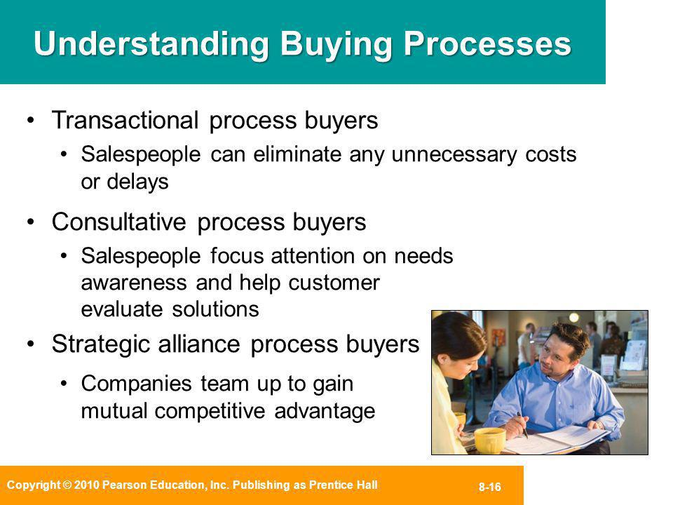 Copyright © 2010 Pearson Education, Inc. Publishing as Prentice Hall 8-16 Understanding Buying Processes Transactional process buyers Salespeople can