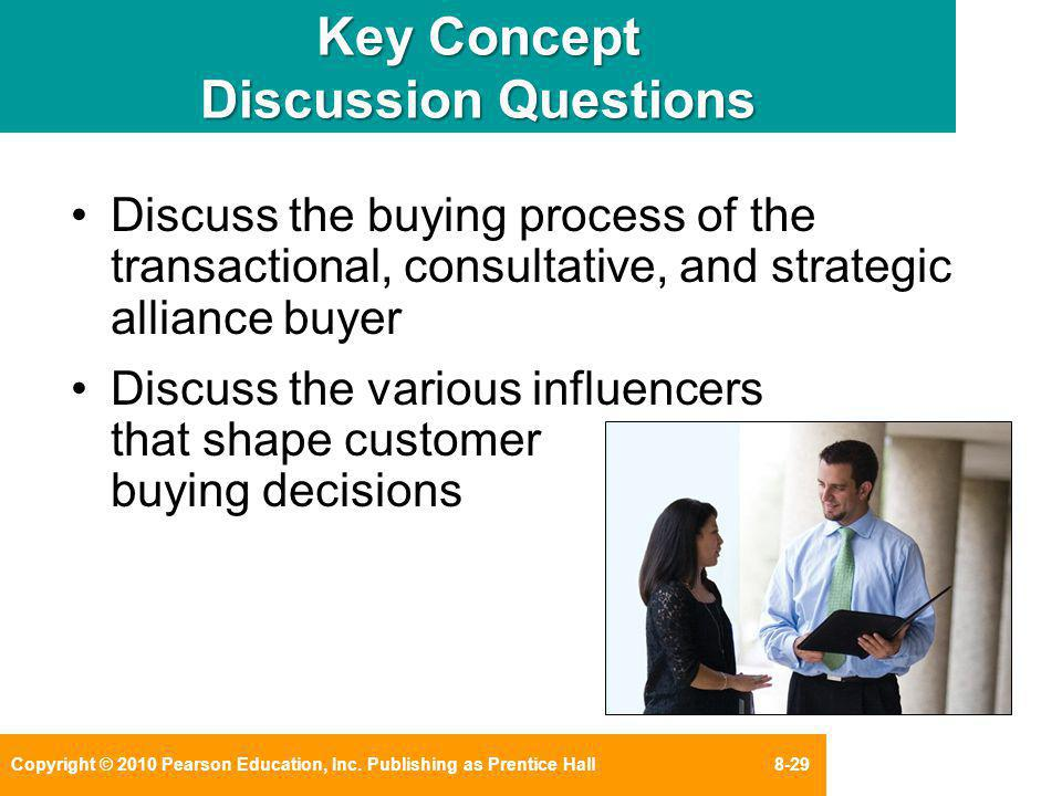 Copyright © 2010 Pearson Education, Inc. Publishing as Prentice Hall 8-29 Key Concept Discussion Questions Discuss the buying process of the transacti