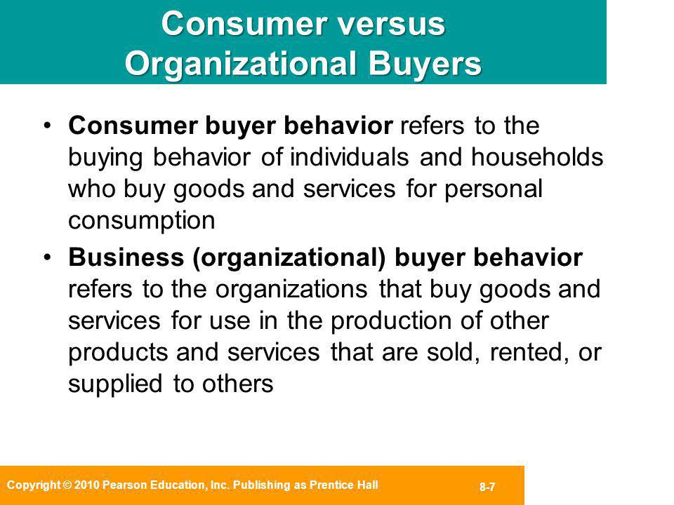 Copyright © 2010 Pearson Education, Inc. Publishing as Prentice Hall 8-7 Consumer versus Organizational Buyers Consumer buyer behavior refers to the b