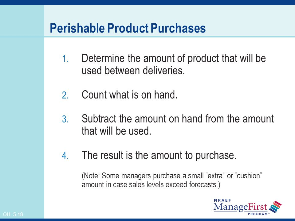 OH 5-18 Perishable Product Purchases 1.