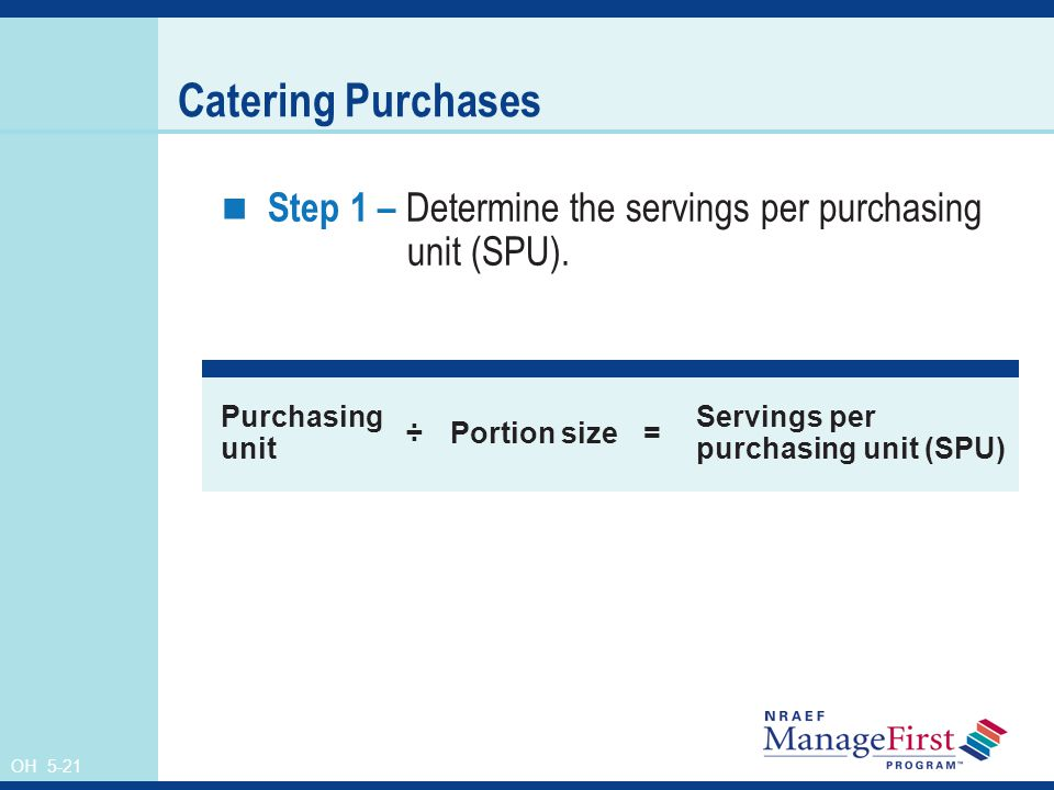 OH 5-21 Catering Purchases Step 1 – Determine the servings per purchasing unit (SPU).
