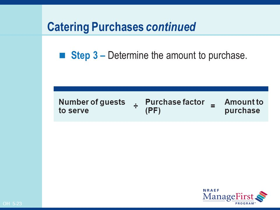 OH 5-23 Catering Purchases continued Step 3 – Determine the amount to purchase.