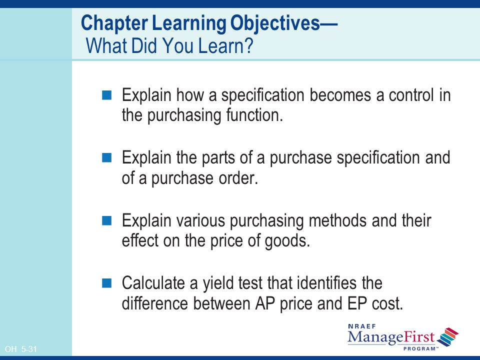 OH 5-31 Chapter Learning Objectives What Did You Learn.