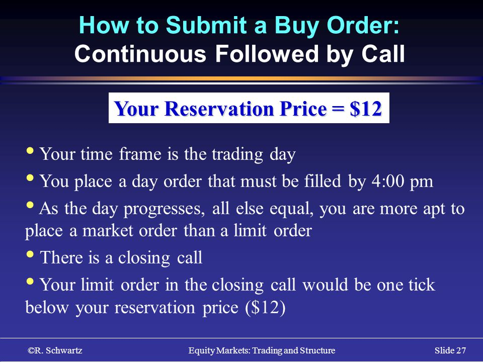 ©R. Schwartz Equity Markets: Trading and StructureSlide 27 How to Submit a Buy Order: Continuous Followed by Call Your Reservation Price = $12 Your ti