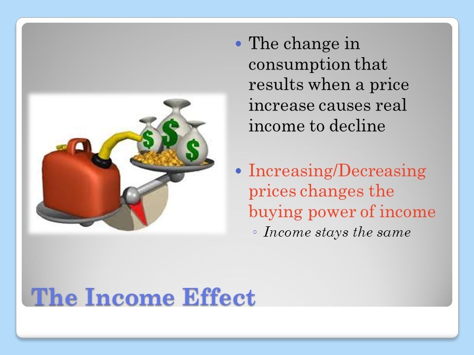 The Income Effect The change in consumption that results when a price increase causes real income to decline Increasing/Decreasing prices changes the buying power of income Income stays the same