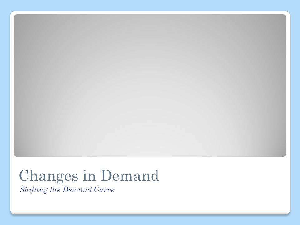 Changes in Demand Shifting the Demand Curve