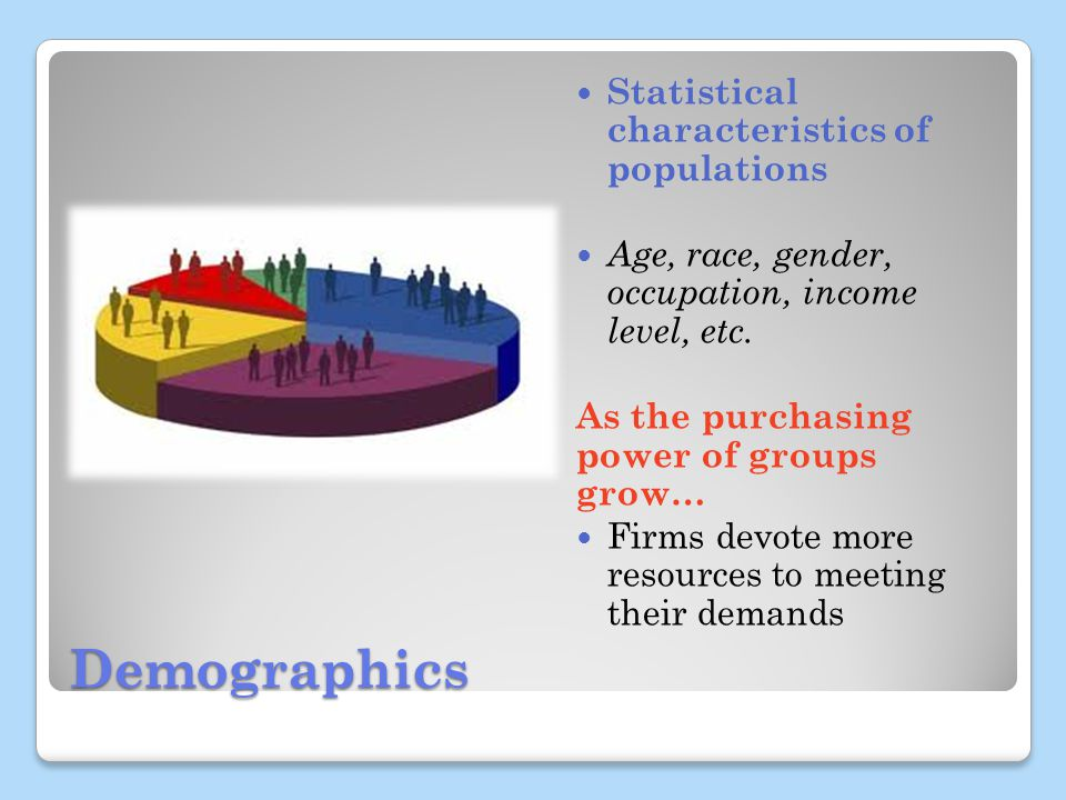 Demographics Statistical characteristics of populations Age, race, gender, occupation, income level, etc.
