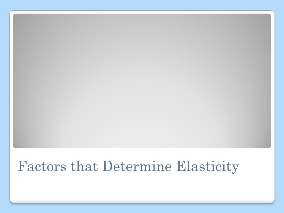 Factors that Determine Elasticity