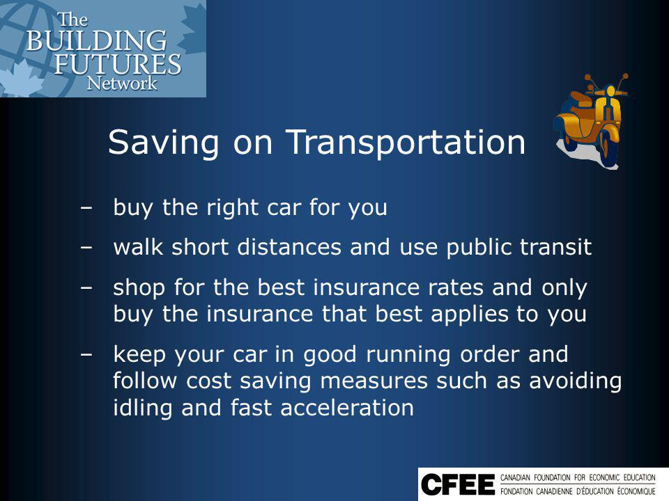 Saving on Transportation –buy the right car for you –walk short distances and use public transit –shop for the best insurance rates and only buy the insurance that best applies to you –keep your car in good running order and follow cost saving measures such as avoiding idling and fast acceleration