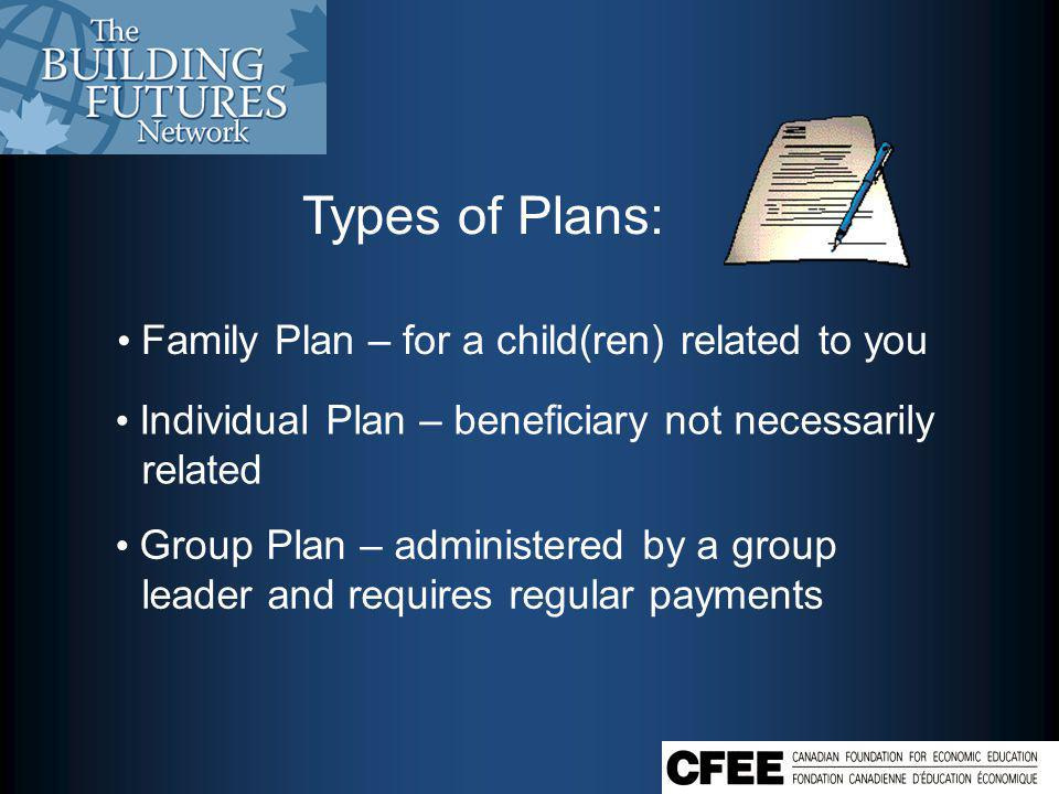 Types of Plans: Family Plan – for a child(ren) related to you Individual Plan – beneficiary not necessarily related Group Plan – administered by a group leader and requires regular payments