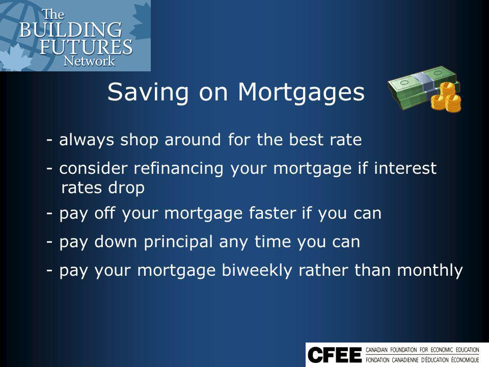 Saving on Mortgages - always shop around for the best rate - consider refinancing your mortgage if interest rates drop - pay off your mortgage faster if you can - pay down principal any time you can - pay your mortgage biweekly rather than monthly