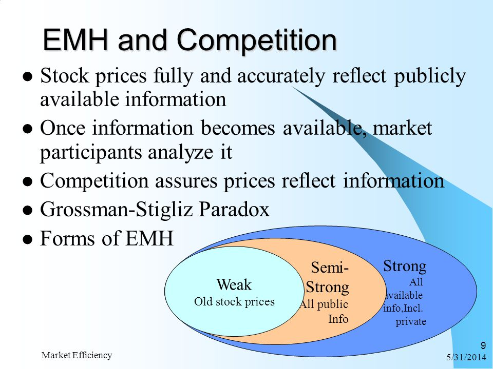 6/1/2014 Market Efficiency 9 Stock prices fully and accurately reflect publicly available information Once information becomes available, market parti