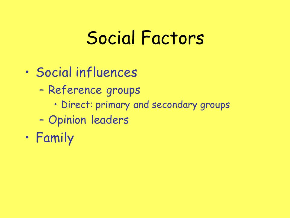 Social Factors Social influences –Reference groups Direct: primary and secondary groups –Opinion leaders Family