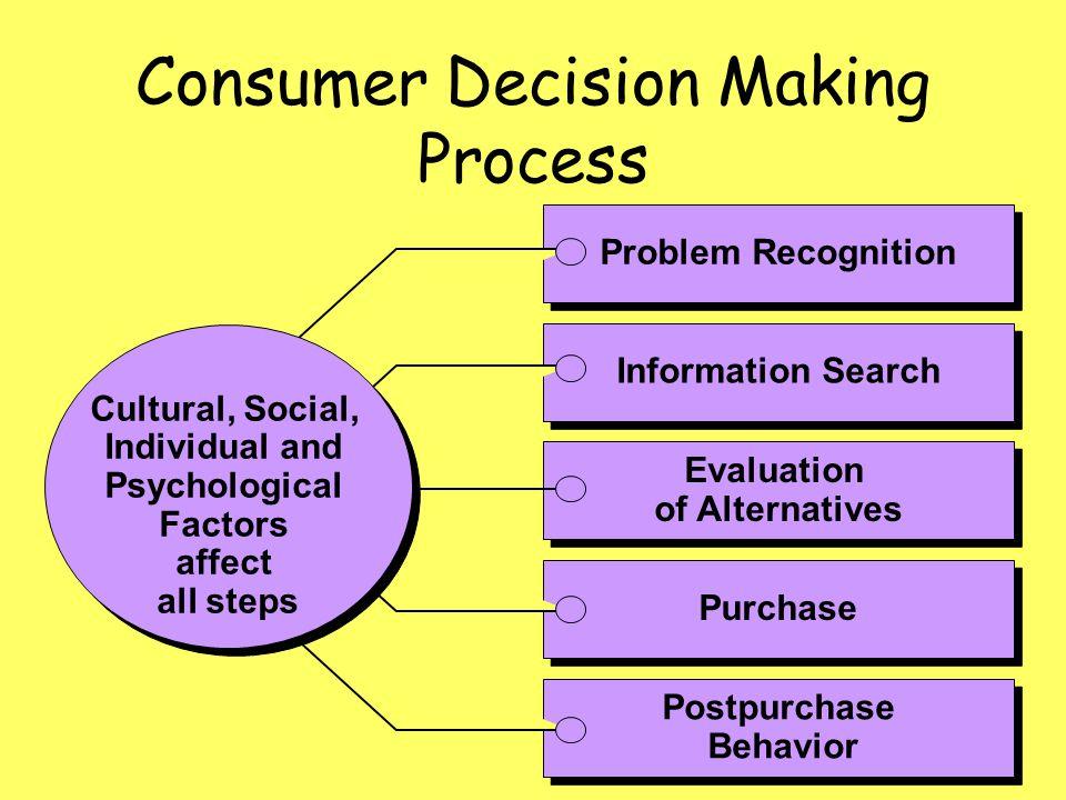 Consumer Decision Making Process Postpurchase Behavior Postpurchase Behavior Purchase Evaluation of Alternatives Evaluation of Alternatives Informatio