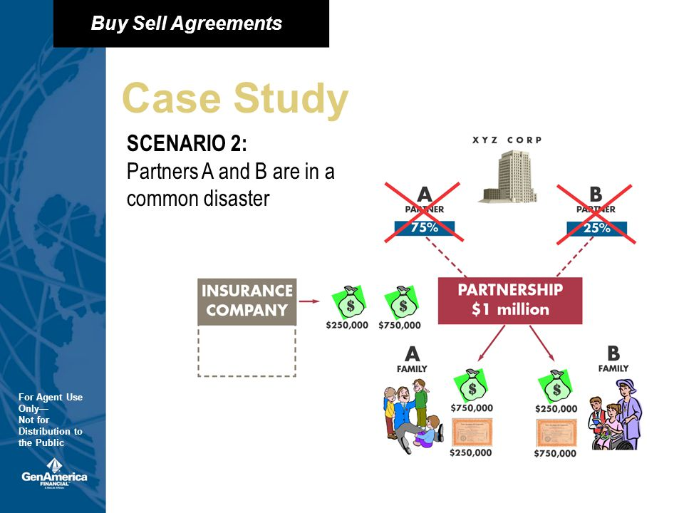 Buy Sell Agreements For Agent Use Only Not for Distribution to the Public Buy Sell Agreements For Agent Use Only Not for Distribution to the Public Case Study SCENARIO 2: Partners A and B are in a common disaster