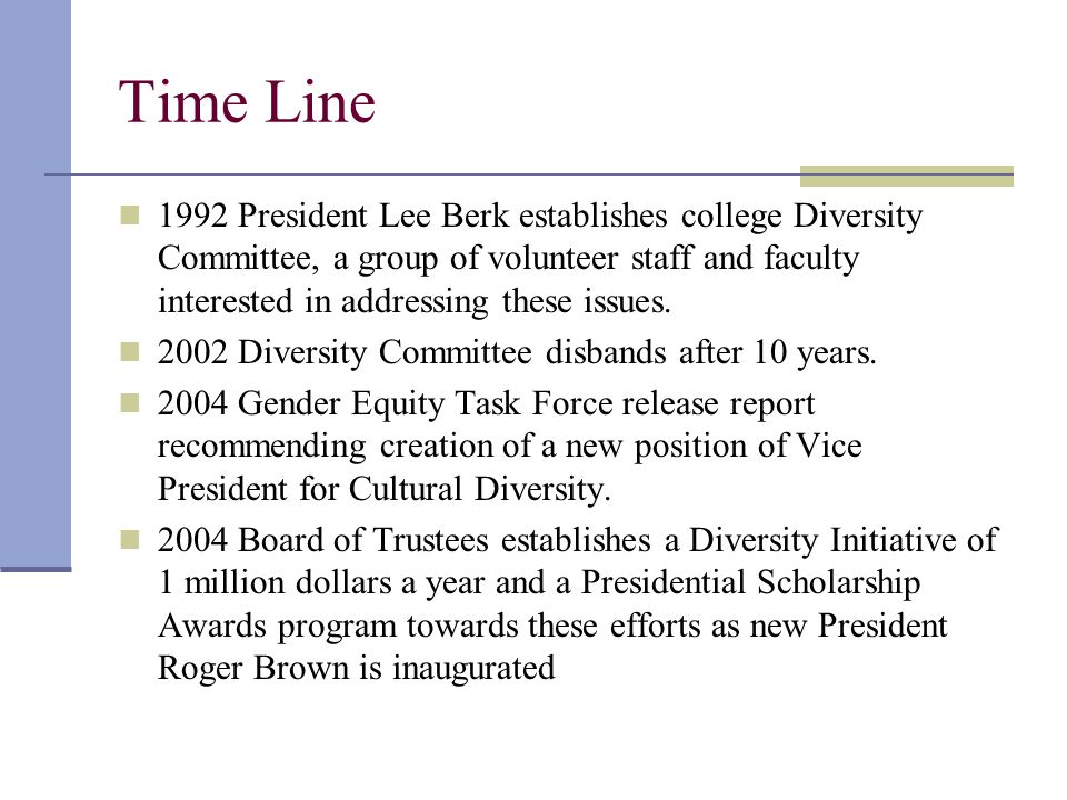 Time Line 1992 President Lee Berk establishes college Diversity Committee, a group of volunteer staff and faculty interested in addressing these issues.