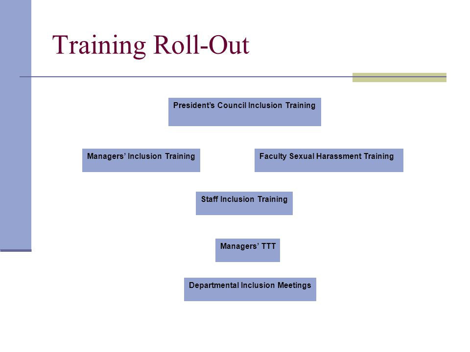 Training Roll-Out Presidents Council Inclusion Training Faculty Sexual Harassment TrainingManagers Inclusion Training Staff Inclusion Training Managers TTT Departmental Inclusion Meetings