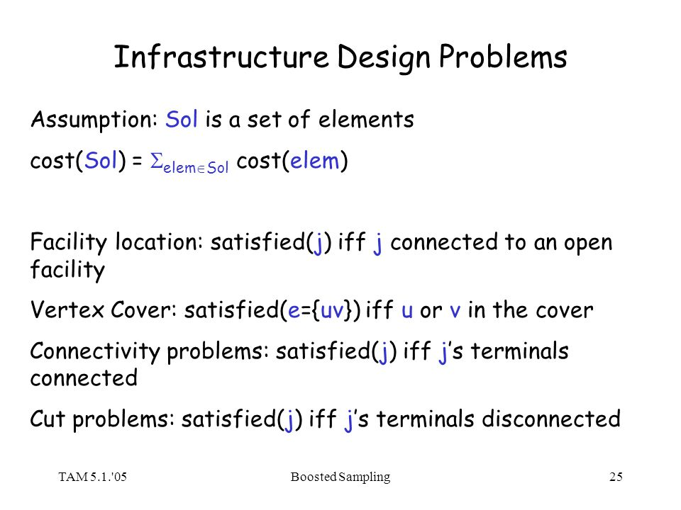 TAM 5.1. 05Boosted Sampling25 Infrastructure Design Problems Assumption: Sol is a set of elements cost(Sol) = elem Sol cost(elem) Facility location: satisfied(j) iff j connected to an open facility Vertex Cover: satisfied(e={uv}) iff u or v in the cover Connectivity problems: satisfied(j) iff js terminals connected Cut problems: satisfied(j) iff js terminals disconnected