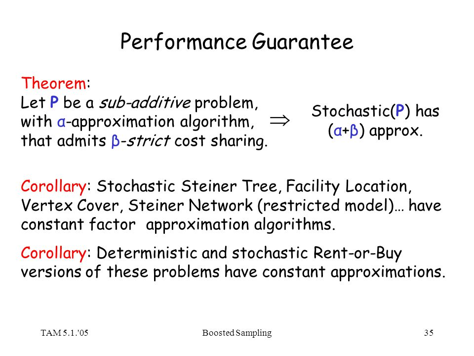 TAM 5.1. 05Boosted Sampling35 Performance Guarantee Theorem: Let P be a sub-additive problem, with α-approximation algorithm, that admits β-strict cost sharing.