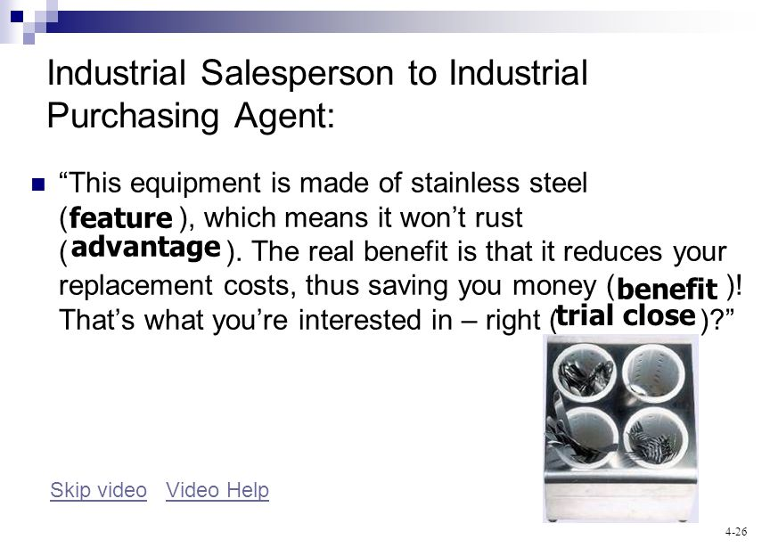 4-26 Industrial Salesperson to Industrial Purchasing Agent: This equipment is made of stainless steel ( ), which means it wont rust ( ).