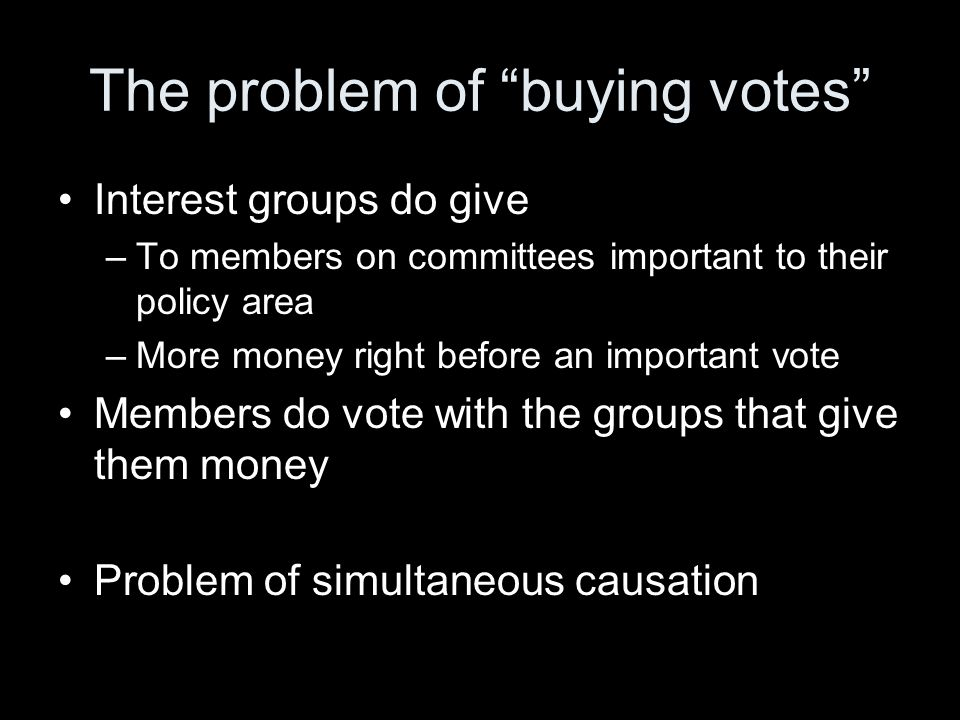 The problem of buying votes Interest groups do give –To members on committees important to their policy area –More money right before an important vote Members do vote with the groups that give them money Problem of simultaneous causation