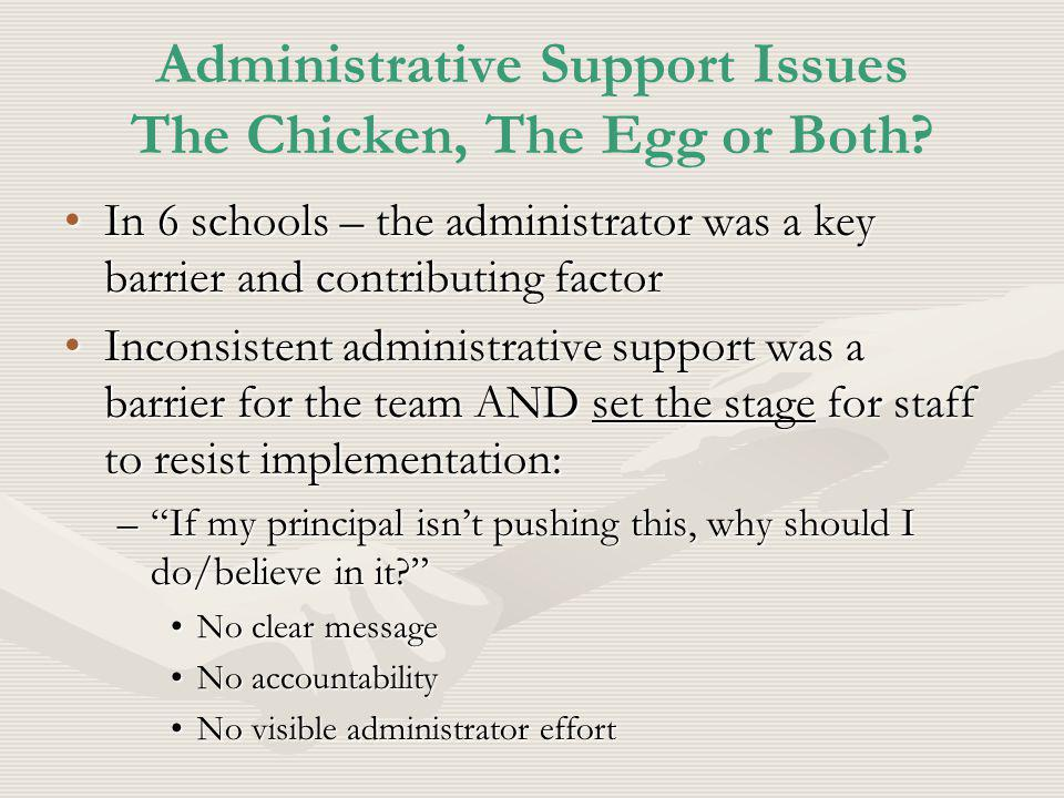 Administrative Support Issues The Chicken, The Egg or Both.
