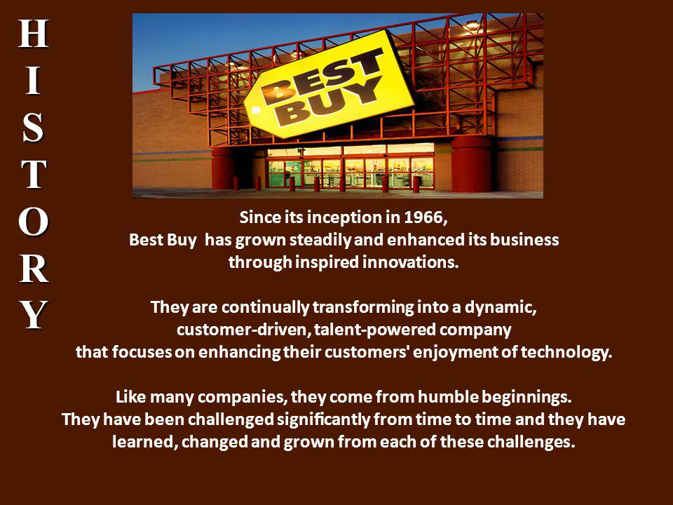 Since its inception in 1966, Best Buy has grown steadily and enhanced its business through inspired innovations.